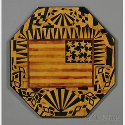 Folk Art Inlaid Wood Flag Plaque