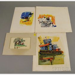 Four Unframed Abstract Cape Cod Prints