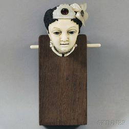 Glass-eyed Ivory Lady's Head on Wooden Stand