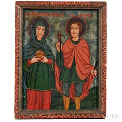 Eastern European School, 19th Century      Devotional Painting with Two Saints, Possibly St. George and Mary Magdalene