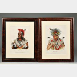 Two Large Framed Color Lithographs of Prairie Chiefs