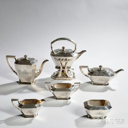 Six-piece Durgin Sterling Silver Tea and Coffee Service