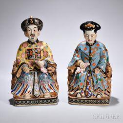 Polychrome Ceramic Figures of an Emperor and Empress