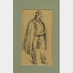 French School, 19th Century    Drawing of a Standing Male Figure Wearing a Cape
