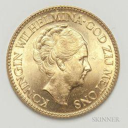 1933 Netherlands 10 Gulden Gold Coin