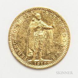 1910 Hungarian 10 Korona Gold Coin.     Estimate $100-200