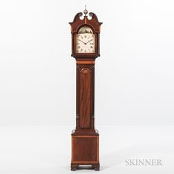 "Reproduction David Studley Inlaid Mahogany ""Small Clock"" or ""Grandmother's"" Clock"