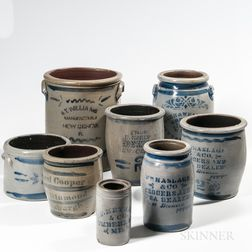 Eight Cobalt-decorated Advertising Crocks and Jars