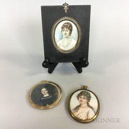 Three Framed Portrait Miniatures of Women