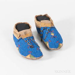 Pair of Central Plains Beaded Hide Moccasins