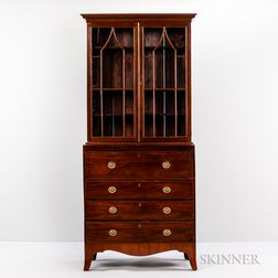 George III Mahogany and Mahogany-veneered Secretary Bookcase