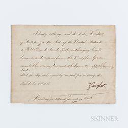 Taylor, Zachary (1784-1850) Document Signed, Washington, DC, 22 January 1850.