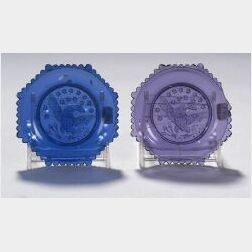 Two Colored Pressed Glass Eagle Pattern Cup Plates