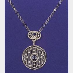 Art Deco Platinum, Sapphire and Diamond Pendant Necklace