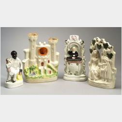 Four Victorian Staffordshire Pottery Items