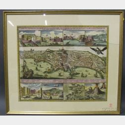 Hand Colored Map of the City of Naples