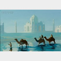 Continental School, 19th/20th Century    Camels Before the Taj Mahal.