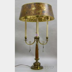 Neoclassical-style Brass and Wooden Four-Light Table Lamp with Mica-style Shade.