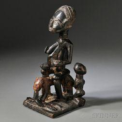 Ashanti or Fante Carved Wood Maternity Figure