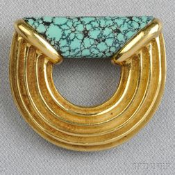 """18kt Gold and Turquoise """"Ridged Logic"""" Brooch, Christopher Walling"""