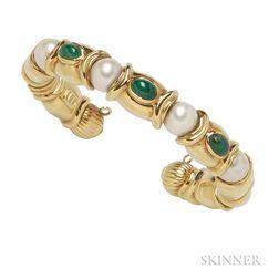 18kt Gold, Emerald, and Cultured Pearl Bracelet