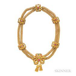 Antique Gold Gem-set Necklace