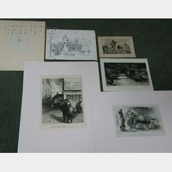 Lot of Six Works on Paper:      Lester George Hornby (American, 1882-1956), The Trout Brook