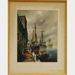 John Cuthbert Hare (American, 1908-1978)      Harbor Scene.