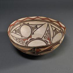 Large Zuni Polychrome Pottery Dough Bowl