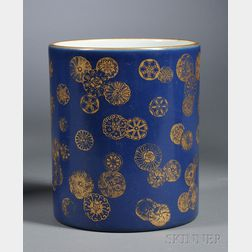 Blue-ground Brush Pot
