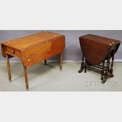 Small William & Mary-style Walnut Drop-leaf Gate-leg Table and a Late Federal Cherry Drop-leaf Table with End Drawer.