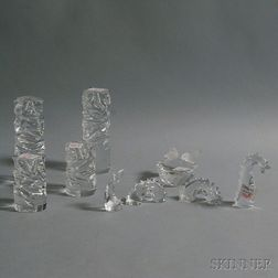 Nine Pieces of Baccarat, Hoya, and Swarovski Crystal