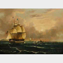 Thomas Chambers (New York/England, 1808-1866/69)      Whaling Scene with the American Bark CAROLUS   of New Bedford, Massachuset