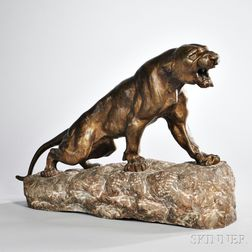 After Thomas Francois Cartier (French, 1879-1943)       Bronze Figure of a Panther