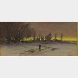 Two Watercolors:      Samuel R. Chaffee (American, 1850-1913), Quiet View of Stream and Town
