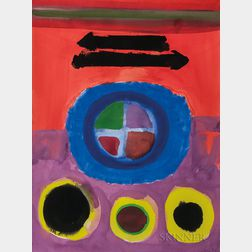 John Grillo (American, 1917-2014)      Abstract with Circles