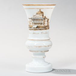 Milk Glass Vase with Boston State House Decoration