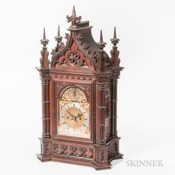 Carved Rosewood Gothic-style Quarter-chiming Mantel Clock