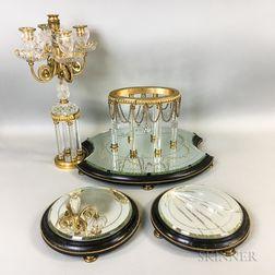 Four-piece Ormolu-mounted Cut Glass and Mirrored Garniture.     Estimate $150-250