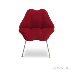 Modern Upholstered Chrome Lips Chair.     Estimate $20-200