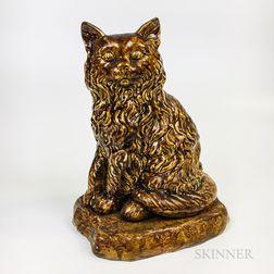 Rockingham-glazed Ceramic Cat
