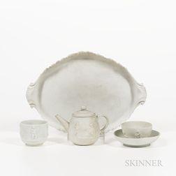 Four Wedgwood Solid White Jasper Tea Wares
