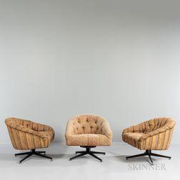 Three Ward Bennett (American, 1917-2003) Leopold Swivel Chairs