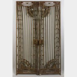Four Art Deco Wrought Iron Architectural Door Panels