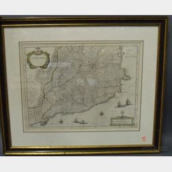 Framed Map of Catalonia by Willem Blaeu
