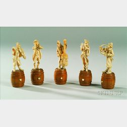 Five Continental Carved Ivory Figures of Musicians