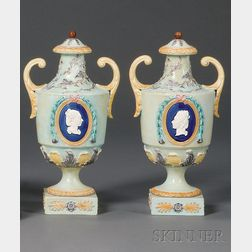 Pair of Wedgwood Majolica Louis XV Portrait Vases and Covers