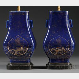 Pair of Blue Glazed Vase Table Lamps