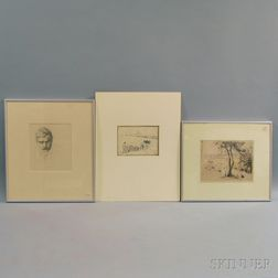 Three Prints:      Lucien Pissarro (French, 1863-1944), After Camille Pissarro (French, 1831-1903), Fieldworkers