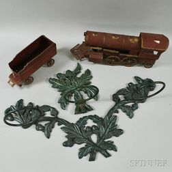 Two Cast Iron Acorn-pattern Garden Pot Holders and Two Dayton Hill Climber Trains